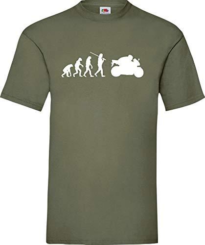 Shirtinstyle T-Shirt Evolution Motorrad Sport Fun Spezial Edition, Farbe Olive, Größe L