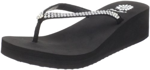 Yellow Box Women's Custard Wedge Flip Flop, Black, 6 M US