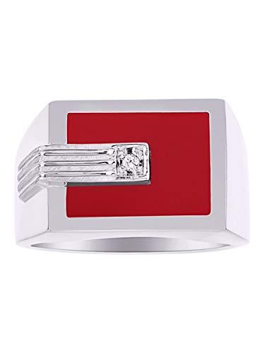 Anillo de plata de ley con diamantes para hombre y ónix rojo, cuarzo rojo, ágata roja.