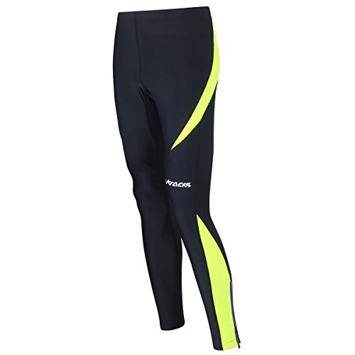 Airtracks Winter Funktions Laufhose Lang Pro/Damen oder Herren/Thermo Running Tight/Atmungsaktiv/Reflektoren - schwarz - neon - XL - Damen