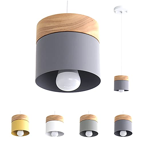 Luminaire Suspension Design Salon Cuisine Suspensions D'éclairage Intérieur Chambre Moderne Lustre Led Industriel En Fer Et Bois (Gris)
