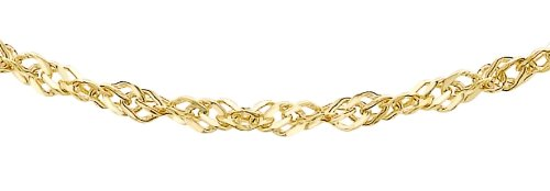 Carissima Gold Women's 9 ct Yellow Gold Hollow 1.9 mm Diamond Cut Sing Curb Chain Necklace of Length 61 cm/24 Inch