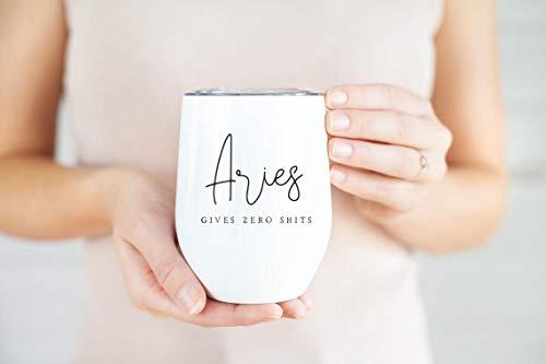 Aries - Vaso de vino, taza de viaje del zodiaco de Aries para copas de vino de viaje, Aries Gi-ft, Gi-ft único, divertido Aries Gi-ft de acero inoxidable con aislamiento sin tallo, 12 onzas