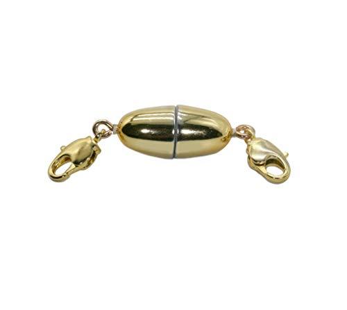 My Home Crystal - Magnetschließe Olive für Schmuck mit zugstarkem Magneten, 2 mal Karabiner oder Verlängerung, glanz Gold (21x9mm Karabiner + Karabiner)