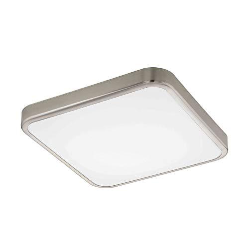 EGLO LED Badezimmer-Deckenlampe Manilva 1, 1 flammige Deckenleuchte, Material: Stahl und Kunststoff, Farbe: Nickel matt, weiß