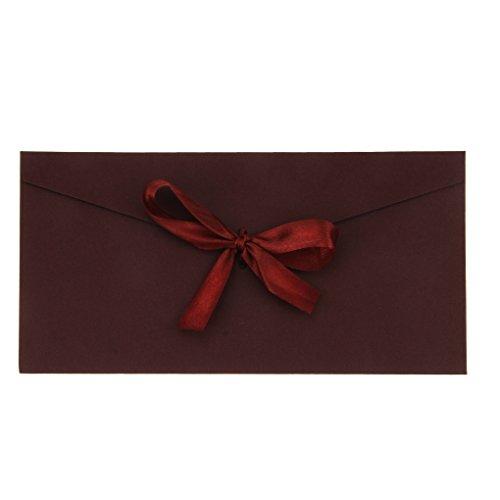 AfinderDE 10 Stück Blanko Briefumschläge mit Schleife Umschläge (22 x 11cm) in Lang Format für Hochzeit Einladungskarten Nachricht Karte Party Geburtstag Weihnachten Geschenk Karten