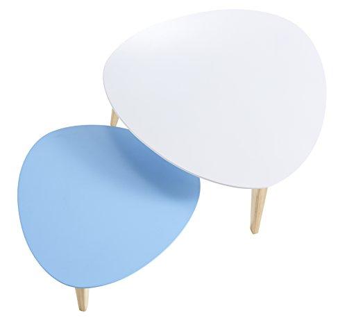 13Casa, Danke, Set 2 Tavolini, Turchese (Bianco/Azzurro), 35/28 x 80/60 x 80/60 cm