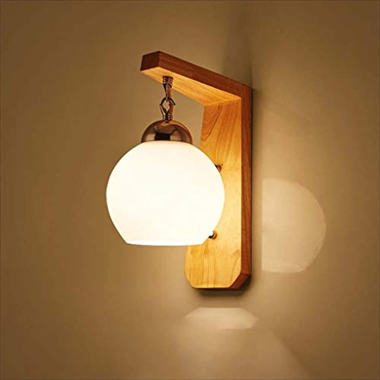 XRFHZT Einfache Massivholzglas-Wandleuchten Schlafzimmer-Wandbeleuchtung Aisle Innenbeleuchtung