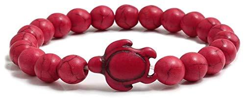NIANXINN Pulsera de Piedra Mujeres, 7 Chakra. Cuenta de Piedra Natural Pulsera Elástica Roja Moda Tortuga Brazalete Mujer Joyería de Oración Pulsera de Chakra