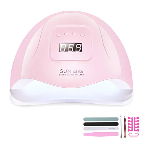 Yuning 120W Lampada Unghie LED UV Professionale per Manicure/Pedicure,Sensore Di Avvio Automatico Con La Possibilità Di Lmpostare 4 Timer 10s/30s/60s / 99s,con kit per nail art kit