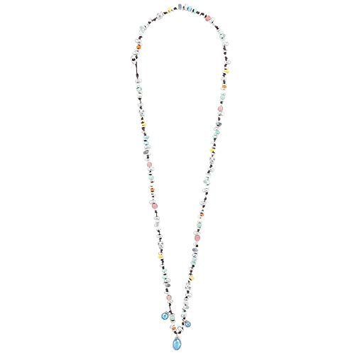 Collar Unode50 Botín COL1376MCLMTL0U colección Treasure metal chapado plata cristales multicolores