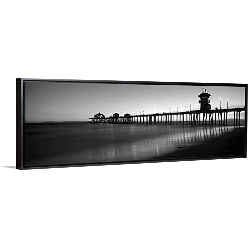 CANVAS ON DEMAND Pier in The sea, Huntington Beach Pier, Huntington Beach, Orange County, California Black Float.
