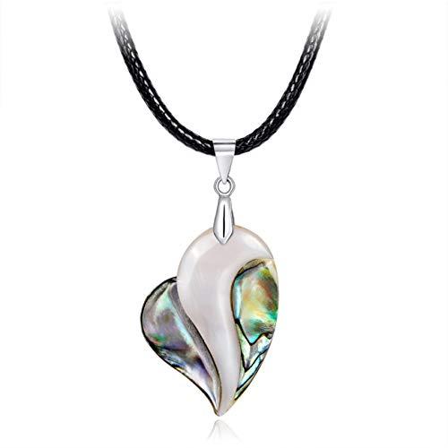 Guoxii - Collar clásico con colgante de concha de mar con piedras preciosas naturales en forma de lágrima de agua en forma de cadena larga de regalo en estilo fino (ninguno CA378-A)