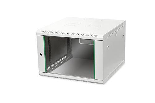 DIGITUS Netzwerk-Schrank 19 zoll 7 HE - Wandmontage - 600 mm Tiefe - Traglast 60 kg - Dynamic Basic - Glastür - Grau