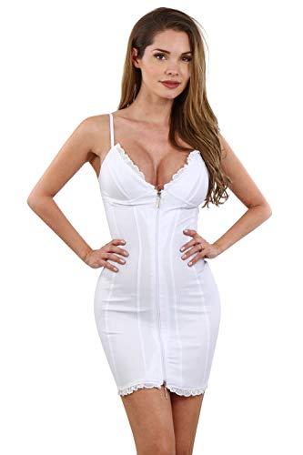 Miss Noir Mini abito sexy da donna, con bretelle regolabili, chiusura lampo frontale, per discoteca, per feste bianco M