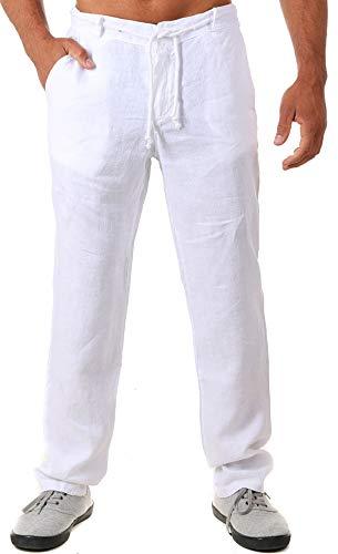Young & Rich Herren Leinenhose Sommerhose 100% Leinen mit Kordelzug Leichter Tapered Legs T4080, Grösse:M, Farbe:Weiß