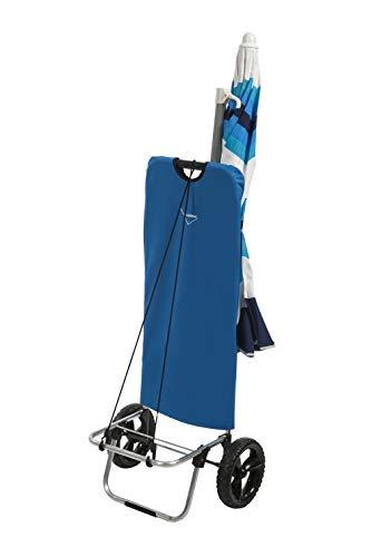 Aurora Chariot de plage à 2 roues avec structure légère 100 % aluminium, doté de poches de rangement spacieuses, crochet porte-parapluie.