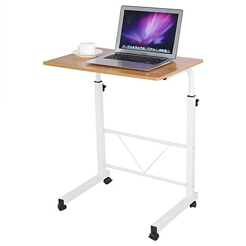 Mobile Laptop Table Computer Desk, Height Adjustable Study Table Laptop Stand, Z-Shaped PC Computer Table on Wheels, for Sofa Bedside, 60.2 x 40cm(White)