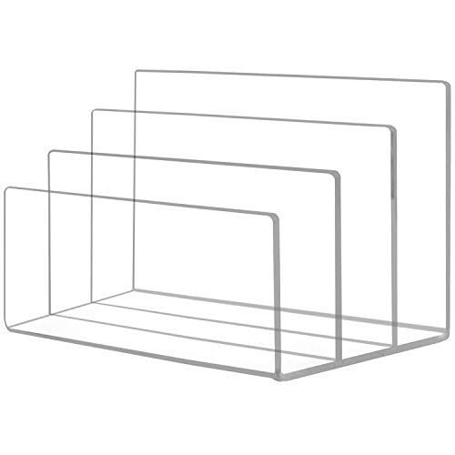 Ktrio Acrylic File Holder 3 Sections File Organizer for Desk Clear Desk Organizer File Sorter File Folder Holder Mail Organizer Letter Holder for Envelopes Mail Electronics