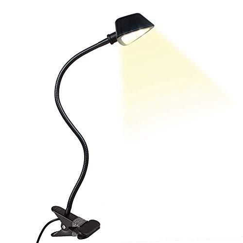 LuminoLite 12 LED Adjustable Reading, 10 Brightness Level x3 Colors Book Lamp, Clip Light for Desk, Bed Headboard, Black