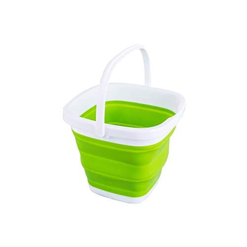 Opvouwbare Plastic Emmer, 3L / 5L / 10L Opvouwbare Plein Tub Portable Fishing Water Pail ruimtebesparende Outdoor Waterpot Organizer,Green,10L