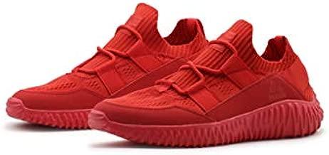 RBX Active Men's Sock Sneaker, Slip On Breathable Knit Lightweight Athletic Running Shoe for Men STP Red 10