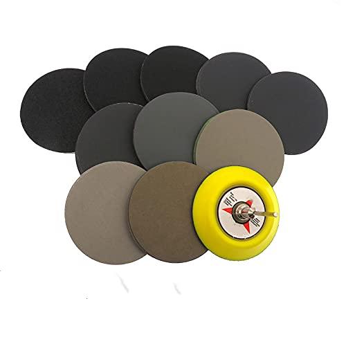 Surtido de papel de lija seco húmedo de 50 piezas 80-7000 Disco de lijadora de grano de 3 pulgadas 75 mm con almohadilla de lijado de gancho y bucle para madera, como se muestra