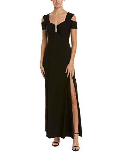 R&M Richards Women's one Piece Long Missy Cold Shoulder Gown, Black, 12