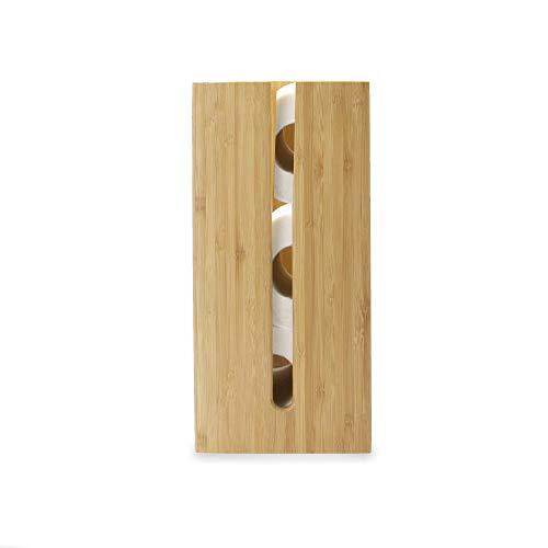 Toilettenpapierhalter aus Bambus | Freistehende Toilettenpapiereinheit | WC Organizer Lagerung | Badezimmeraccessoires aus Holz | M&W