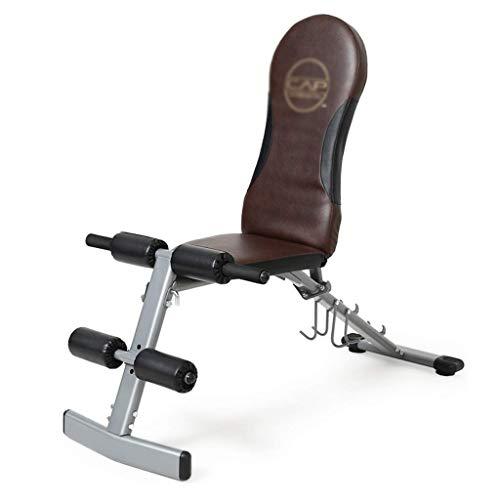 WJSW Hantelbank Multifunktionale Fitnessgeräte Hantelbank Rückenlehne Bauchmuskelübungen Rücken 3 Anpassung (Farbe: Braun, Größe: 125 * 42 * 61 cm)