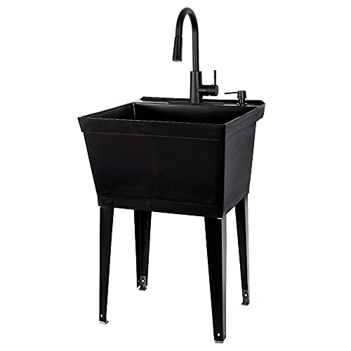 Black Utility Sink with High Arc Black Faucet by VETTA by JS Jackson Supplies, Pull Down Sprayer Spout, Heavy Duty Slop Sink for Washing Room, Basement, Shop, Free Standing Laundry Tub Deep Plastic