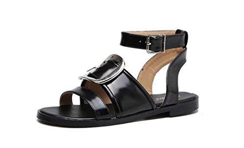 Metalen grote ronde gesp low hak all-match vooraan open schoen chique mode sandalen voor vrouwen