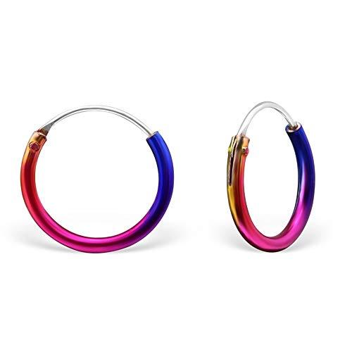 Pendientes de aro pequeños de plata de ley con diseño de arcoíris