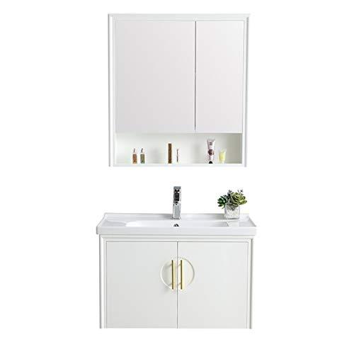 JenLn Bagno Lavabo Bacino Bagno Armadio in Legno massello Cabinet per armadietto per armadietto Specchio Combinazione Impermeabile e umidità Lavandino