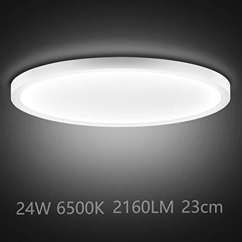 Ouyulong LED Deckenleuchte 24W 6500K 2160LM, Für Wohnzimmer,Schlafzimmer,Balkon -Super helle Deckenleuchte, Deckenleuchte Wohnzimmer Weiß 230×230×23 mm