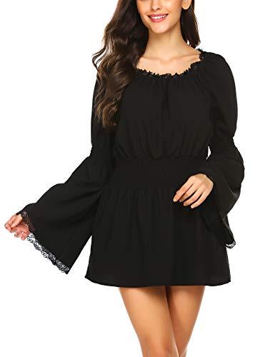 ELESOL Women's Plue Size Stretch Off Shoulder Blouse Black Casual Boho Shirt Tops XXL