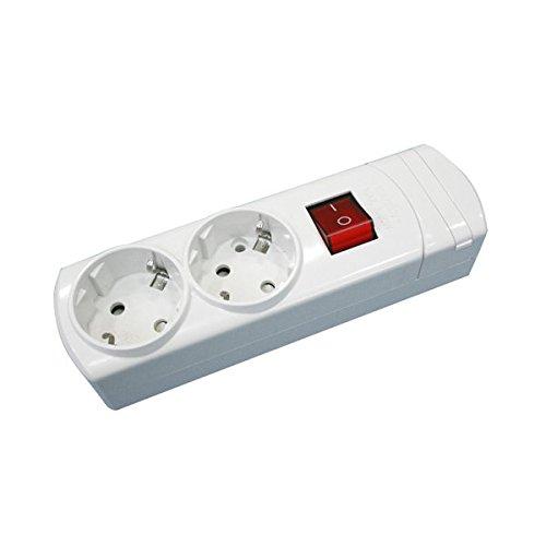 ElectroDH Steckdosenleiste mit 2 Steckdosen, ohne Kabel, mit Schalter und Kindersicherung