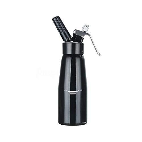 YiWon 500ml Sahnespender aus Aluminium, 3 Edelstahl Tüllen + 1 Reinigungsbürsten, für die Zubereitung von Schlagsahne, Creme, Mousse