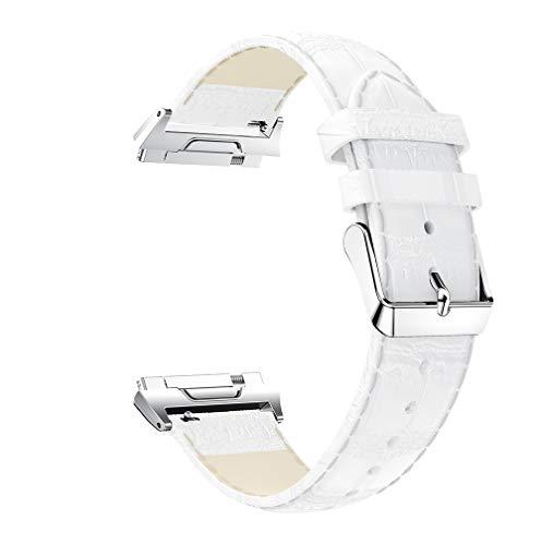 Lux Mary Uhrenarmband kompatibel mit Fitbit Ionic, Lederarmband Ersatz-Watch Armband mit Edelstahl Metall Schließe für Herren Damen (Weiß)