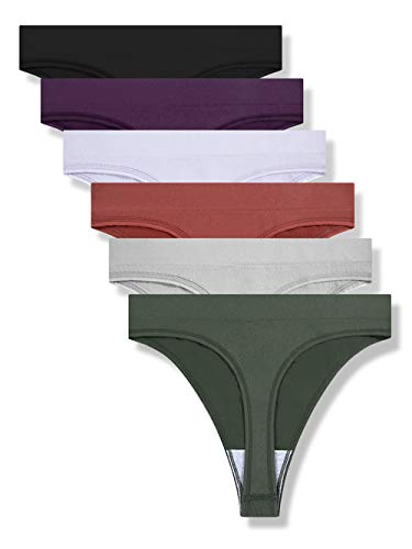 GRANKEE Women's Breathable Seamless Thong Panties No Show Underwear 6 Pack(Black/Caramel/Purple/Olive Green/Lavender/Light Grey 6 Pack M)