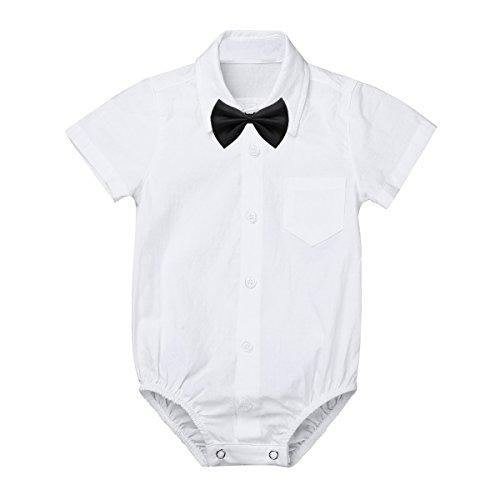 iEFiEL Baby Jungen Hemdbody mit Kragen und Fliege Langarm/Kurzarm Overall Baumwolle Strampler Weiß Hemd für Kleinkinder Weiß Kurzarmbody 92