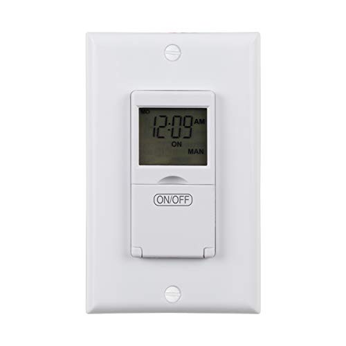 BN-LINK 7 Day Programmable In-Wall Timer Switch for Lights, fans and Motors, Single Pole and 3 Way (Compatible with SPDT) Both Use, Neutral Wire Required, White (No Backlight)