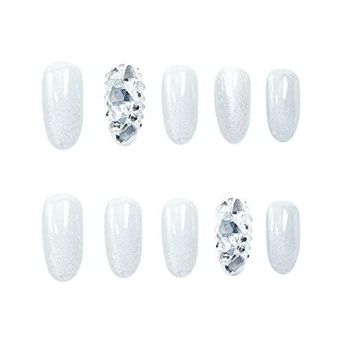 Faux ongles tête mi-longue faux ongles diamants argentés décoratifs ballerine faux ongles conseils ongles finis 24pcs / boîte