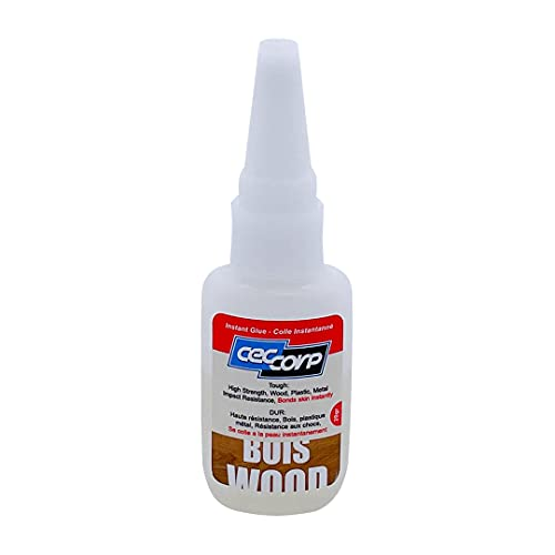 CECCORP Cyanoacrylate Super Glue Wood - Recommended for Bonding Wood, Leather, Metals, Plastics and All Insensitive Surfaces - Toughened Low-Medium Viscosity - Quick Cure Tough Bonding – 20 Grams