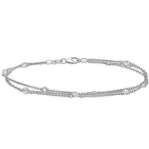 "The Diamond Channel AGS Certified 14K Gold Diamond By The Yard 15-Stone 3 Row Bezel-Set Diamond Bracelet (J-K Color, I1-I2 Clarity), 7"" (white-gold)"