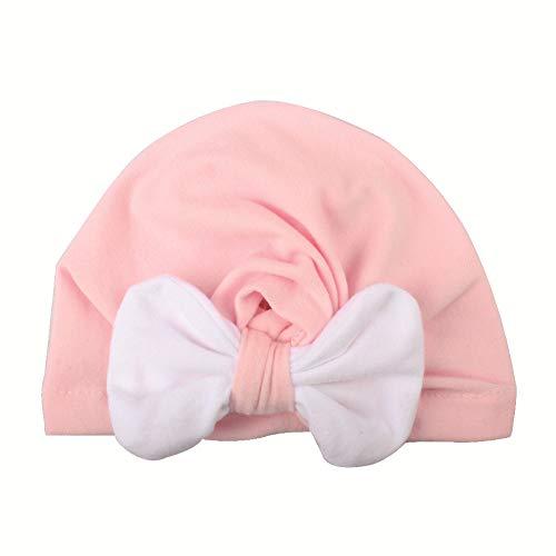 Ubabamama Creative Big Bow Bonnet pour Nouveau-né 0–2 Ans d'hiver Chaud Chapeau noué de Noël Headwear Casquette, Rose, Taille Unique
