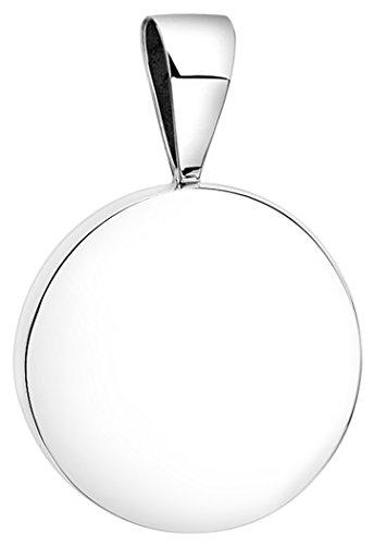 Nenalina Rund Anhänger für Damen Kette oder Halskette glänzend in 925 Sterling Silber, 361305-090