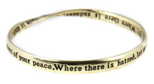 4031470 St Francis Prayer Bangle Bracelet Assisi Instrument of Peace Catholic