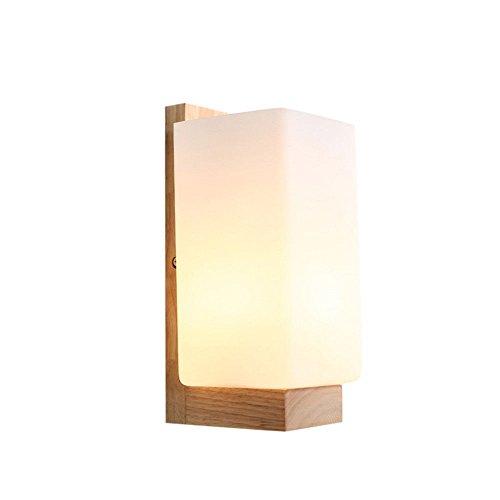 SiwuxieLamp applique murale Connectez-vous en bois massif chambre lampe de chevet allée escalier nordique américain moderne minimaliste avec 6018 lumière support