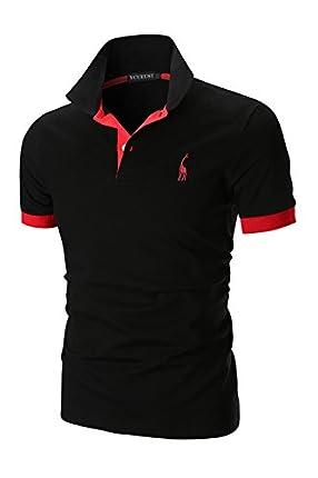 YCUEUST Polo para Hombre Manga Cortas Bordado Contrast Collar Golf Camiseta Negro EU XL